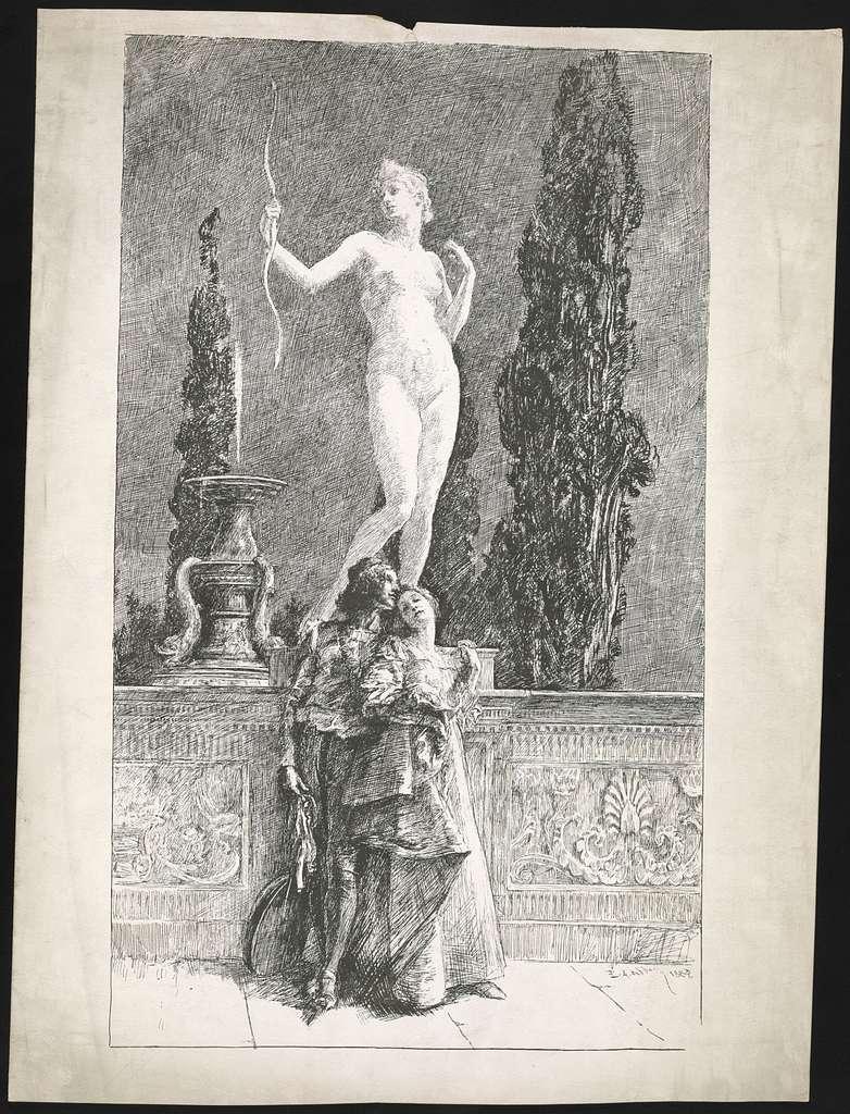 [Shakespeare courtship scene(?)] / E.A. Abbey 1889.