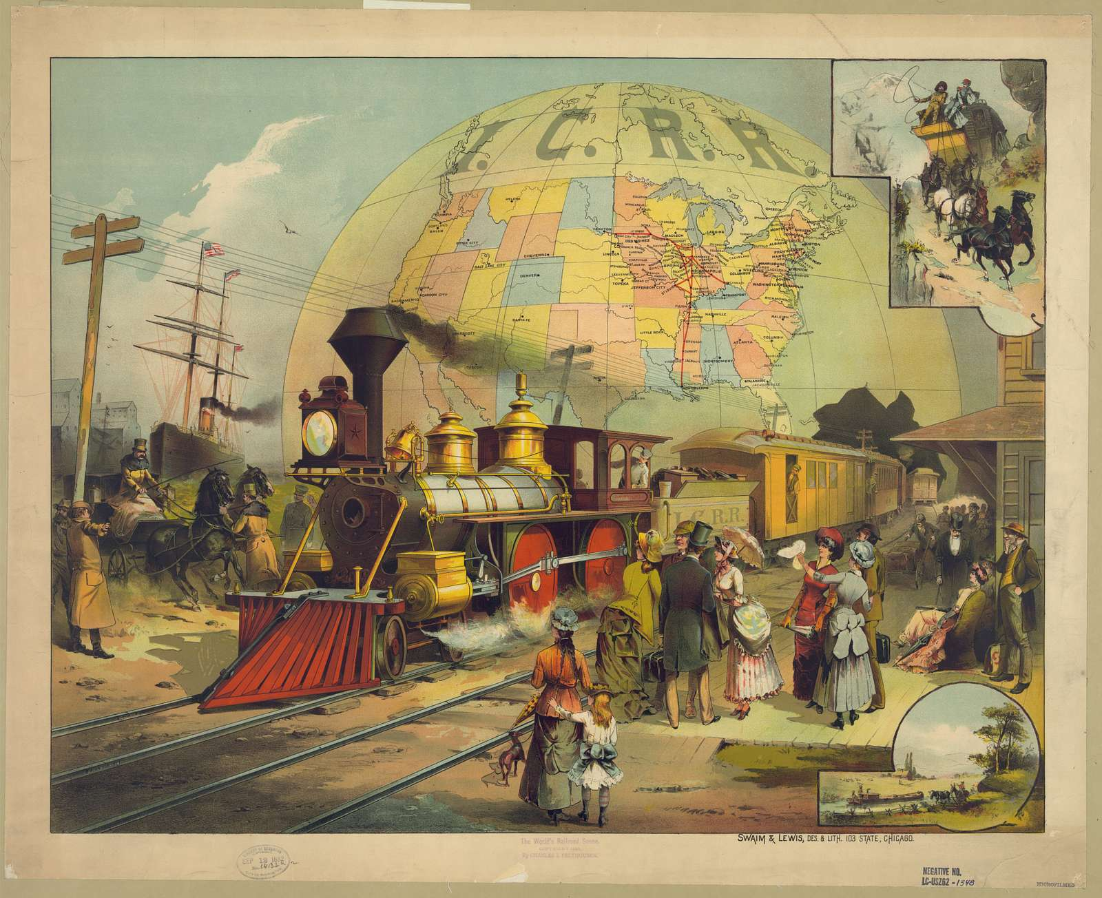 The world's railroad scene / Swain & Lewis, des. & lith. 103 State, Chicago.