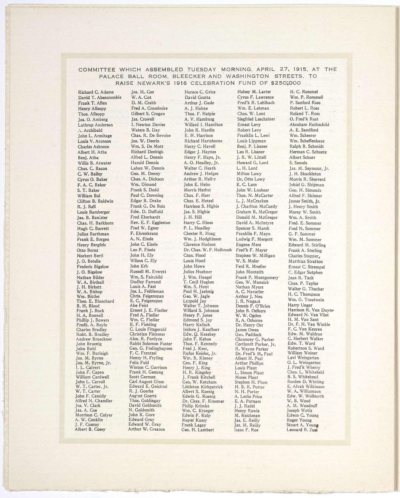 1666 - 1916. [Robert Treat directing landing of founders of Newark (by) Adolph Treidler] 250th anniversary celebration ... Newark's $1000 prize poster. Newark, N. J. 1916.