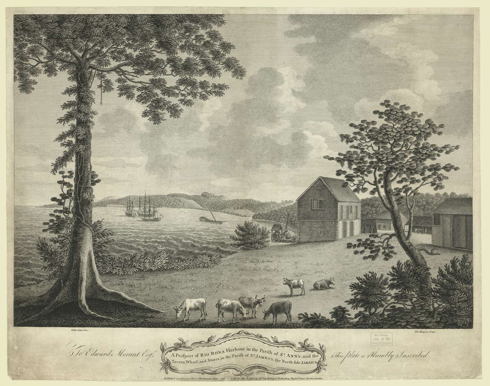 A prospect of Rio Bona harbour in the parish of St. Ann's, and the tavern, wharf, and stores, in the parish of St. James's, the north side Jamaica