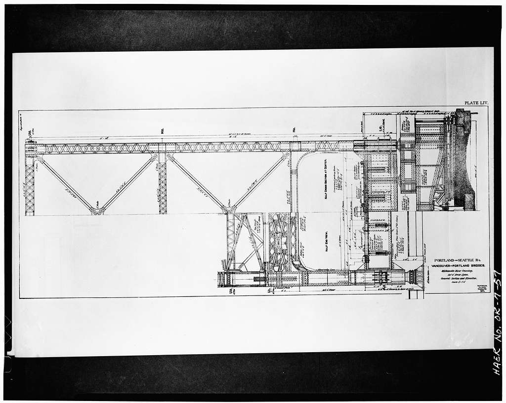 Burlington Northern Railroad Bridge, Spanning Willamette River at River Mile 6.9, Portland, Multnomah County, OR