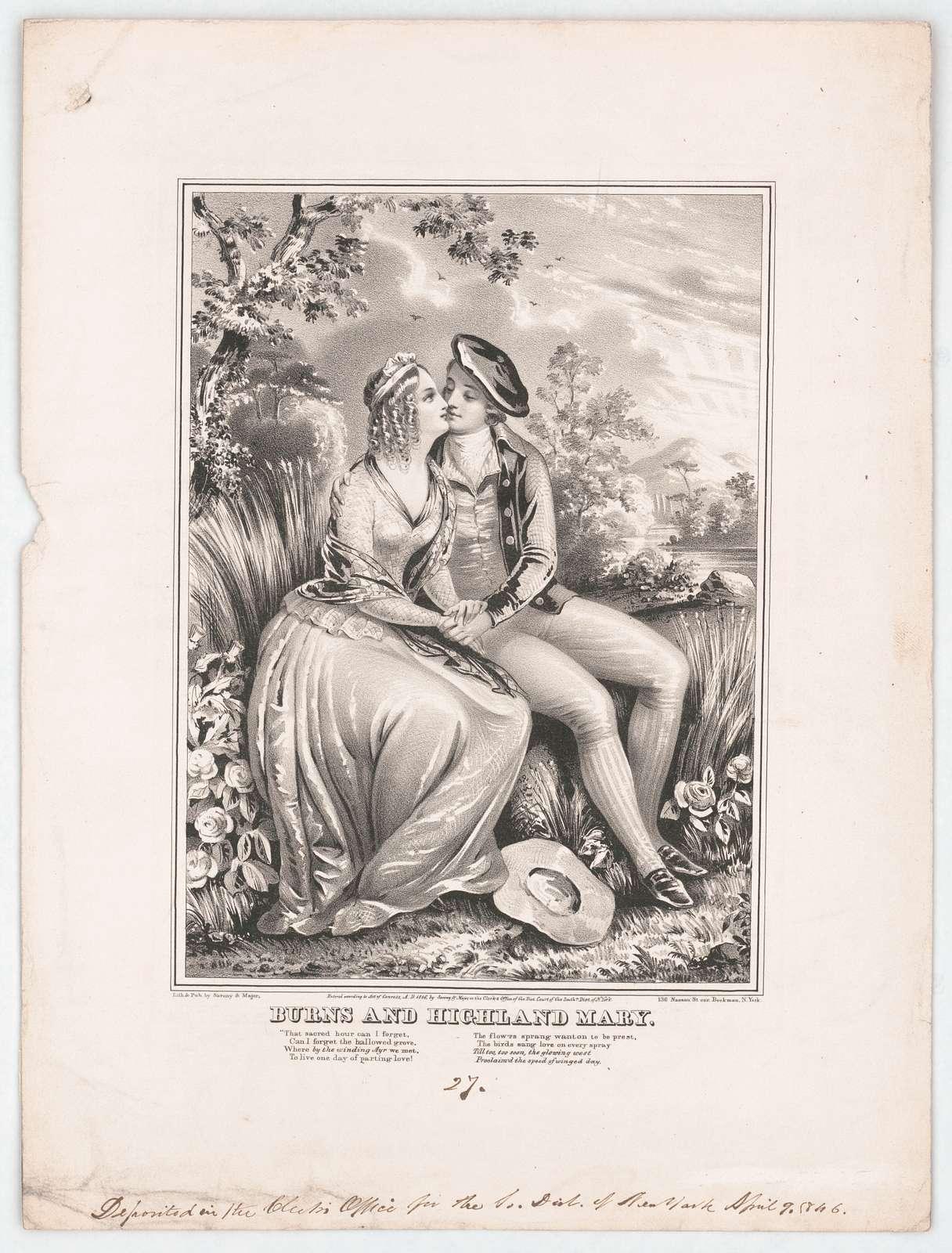 Burns and highland Mary / lith. & pub by Sarony & Major 136 Nassau St. cor. Bookman, N. York.