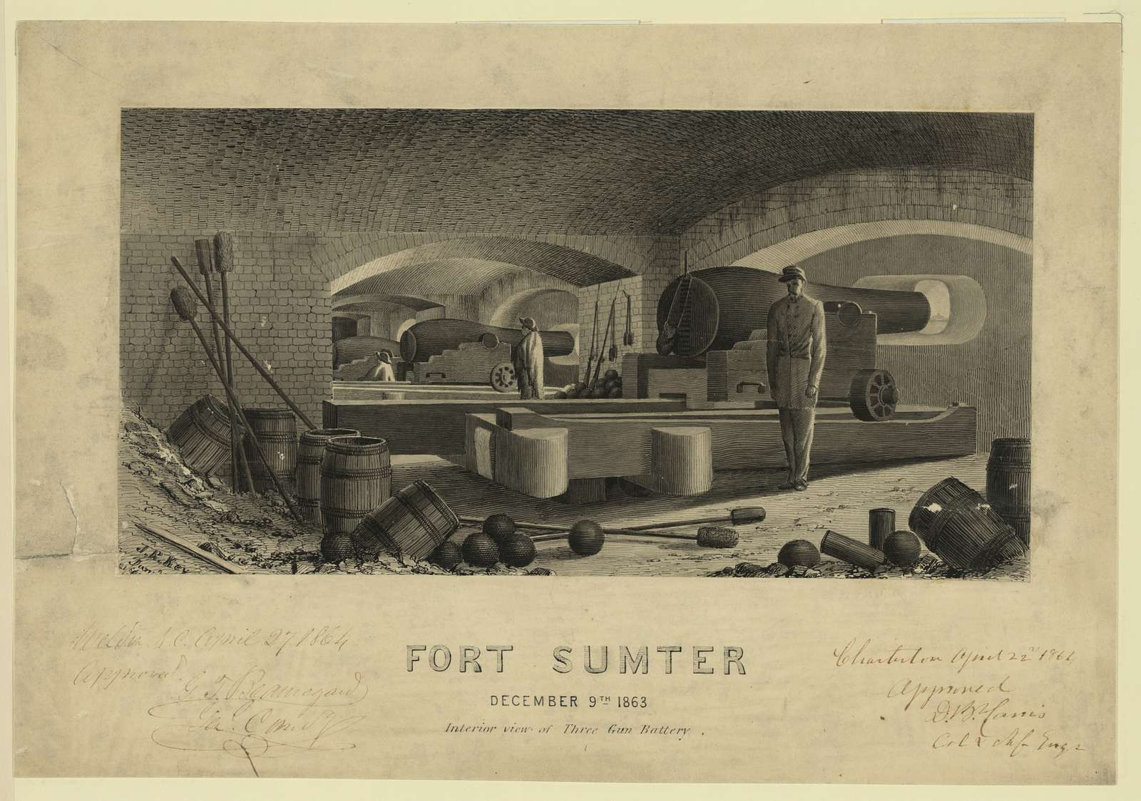 Fort Sumter, December 9th 1863, Interior view of Three Gun Battery