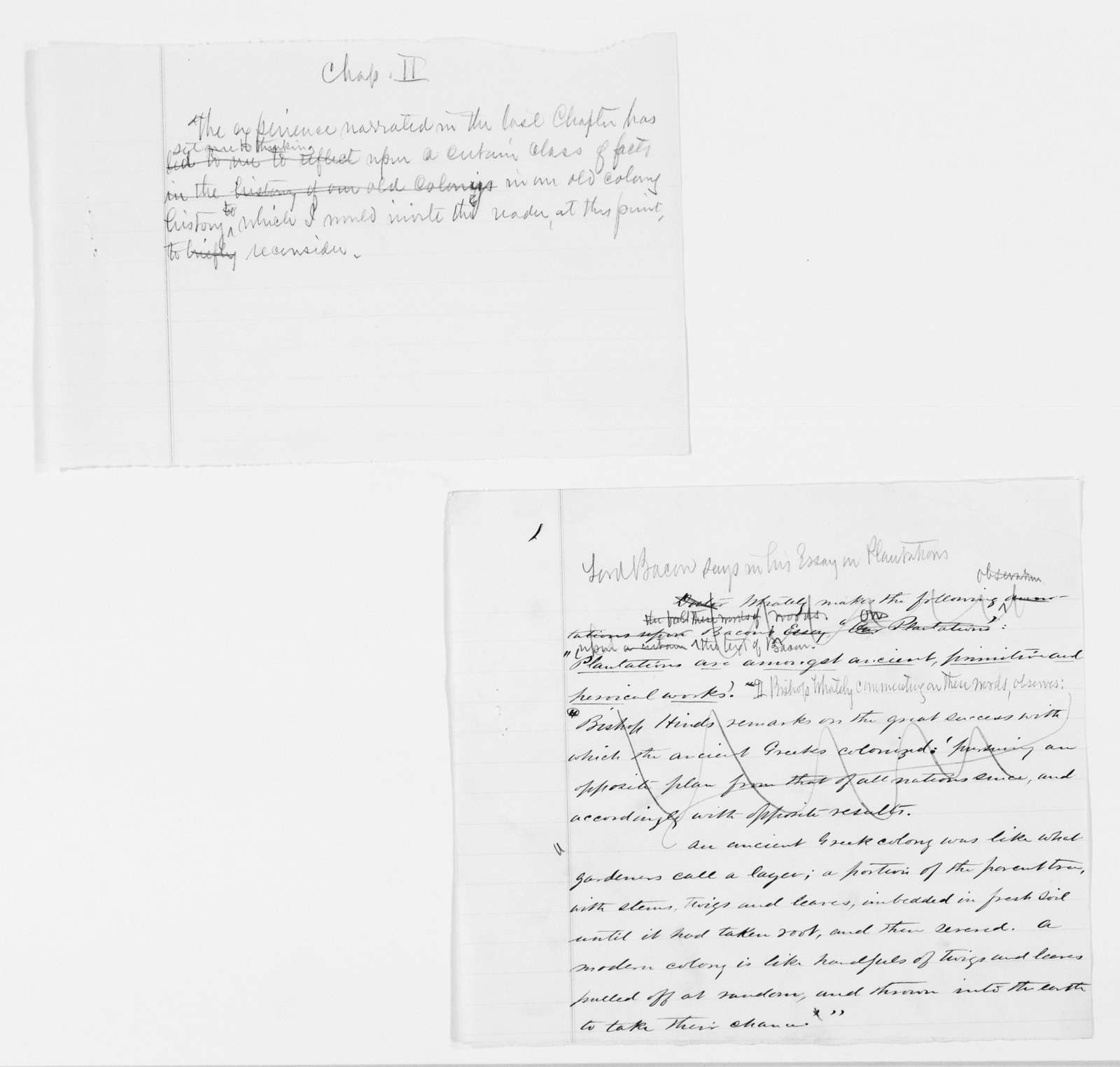 "Frederick Law Olmsted Papers: Speeches and Writings File, 1839-1903; circa 1860-1870; ""History of Civilization in the United States"" (unpublished book); Drafts, notes, and fragments; 3 of 6"