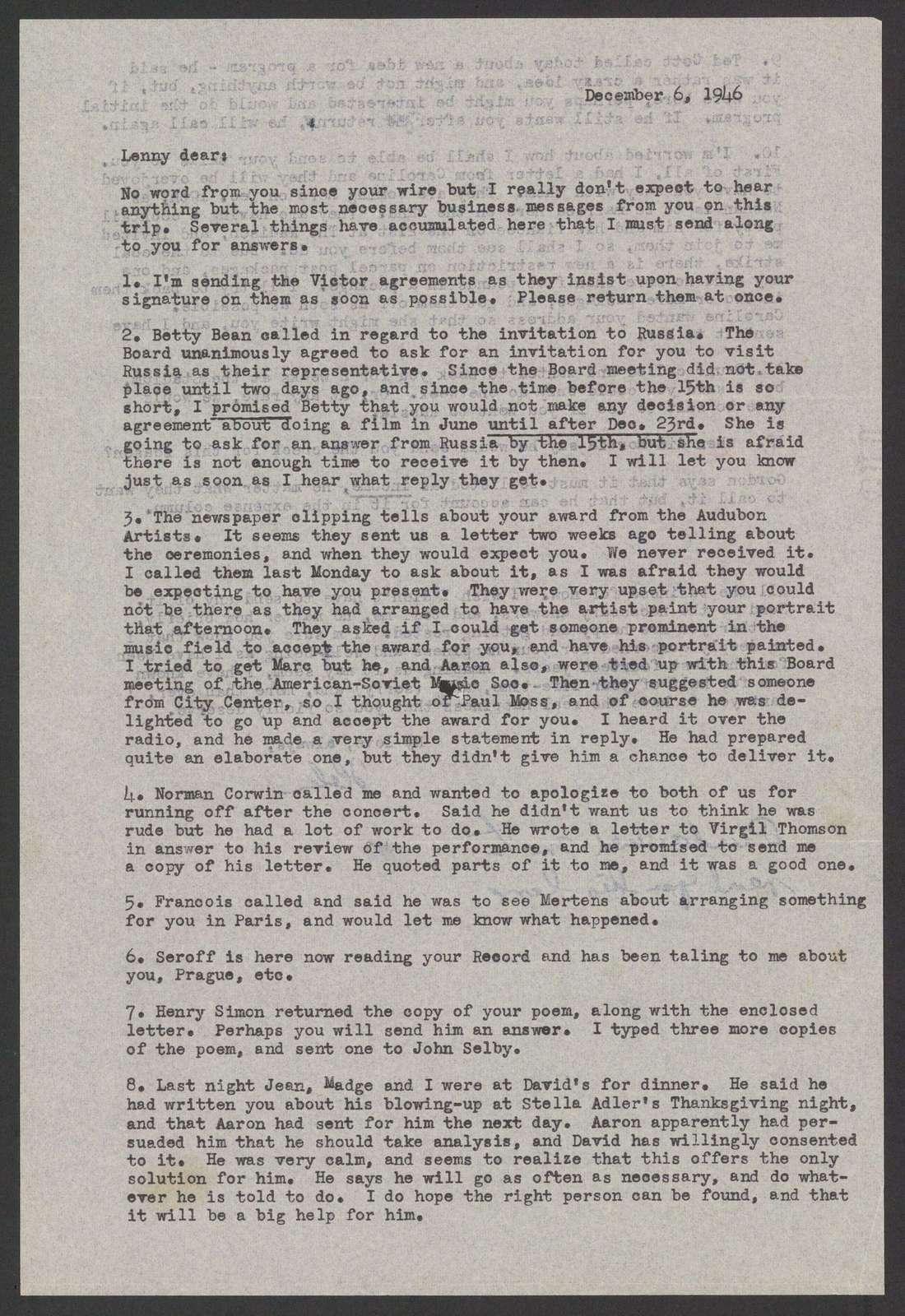 Helen Coates to Leonard Bernstein, December 6, 1946