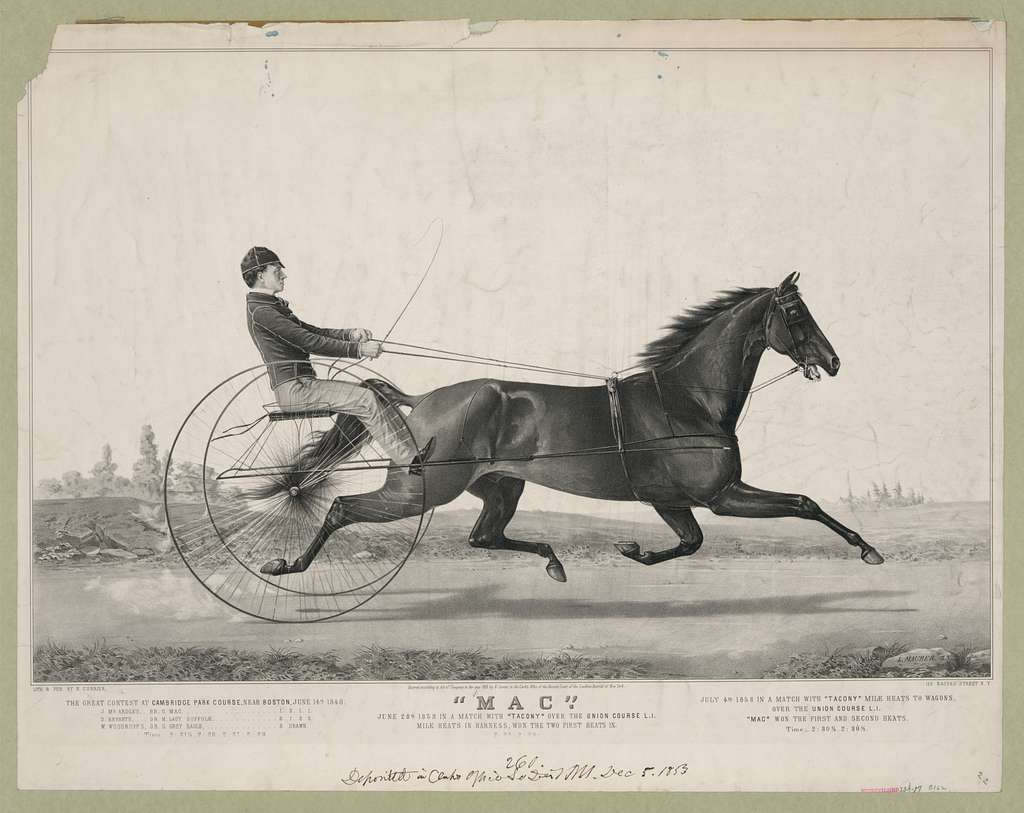 """""""Mac"""": June 28th 1853 in a match with """"Tacony"""" over the union course L.I. mile heats in harness, won the two first heats in 2:28-2:29"""