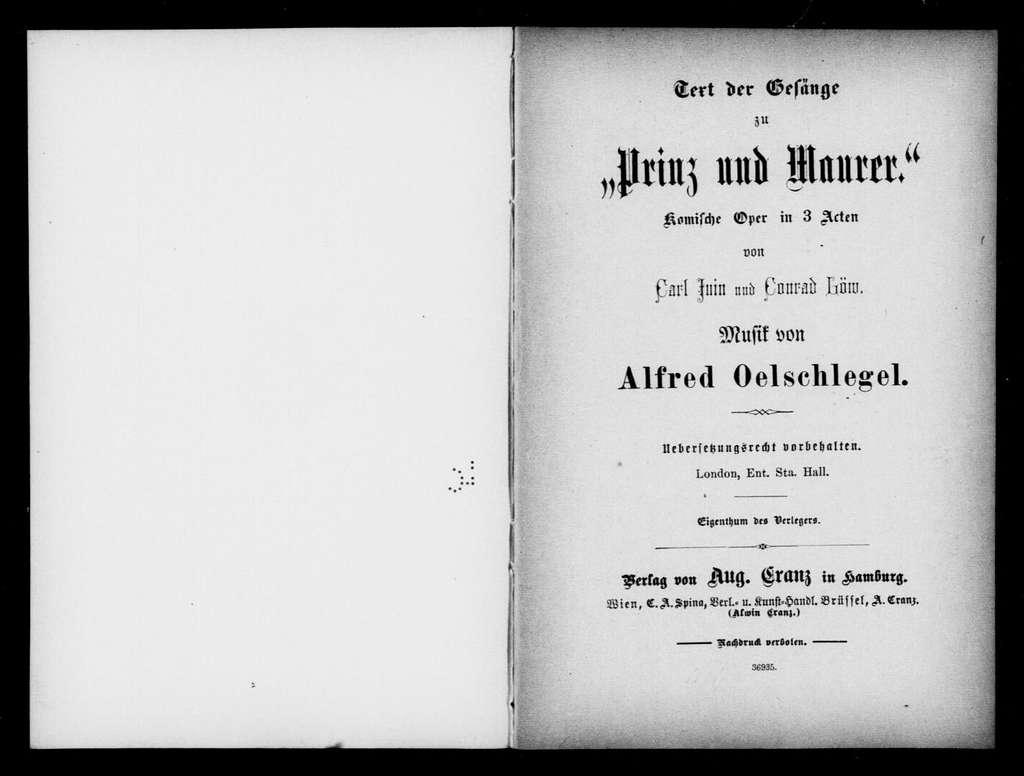 Prinz und Maurer. Libretto. German