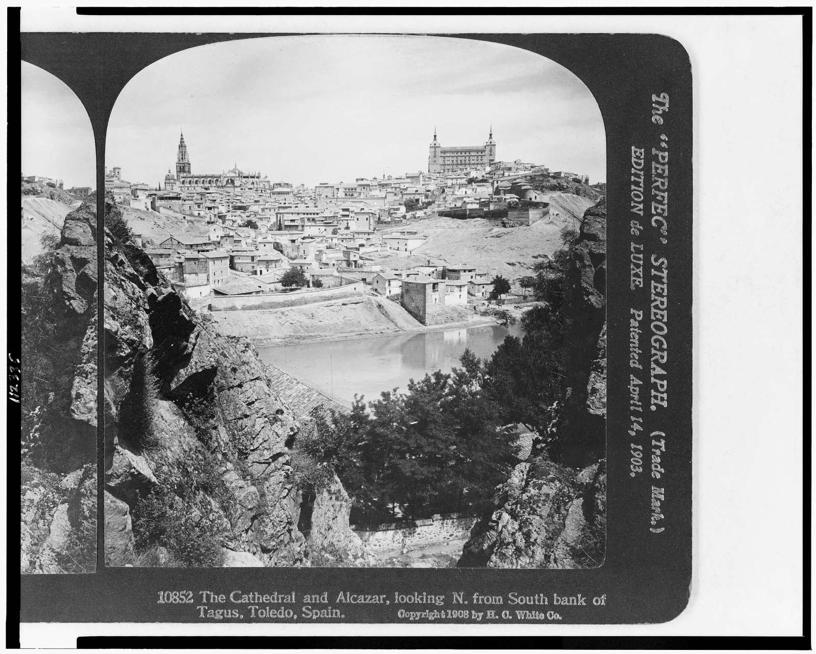 The cathedral and Alcazar, looking N. from south bank of Tagus, Toledo, Spain