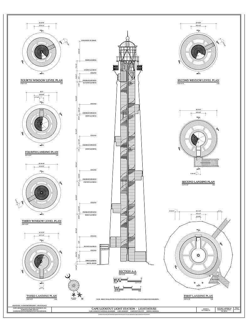 Cape Lookout Light Station, Lighthouse, Cape Lookout, Carteret County, NC