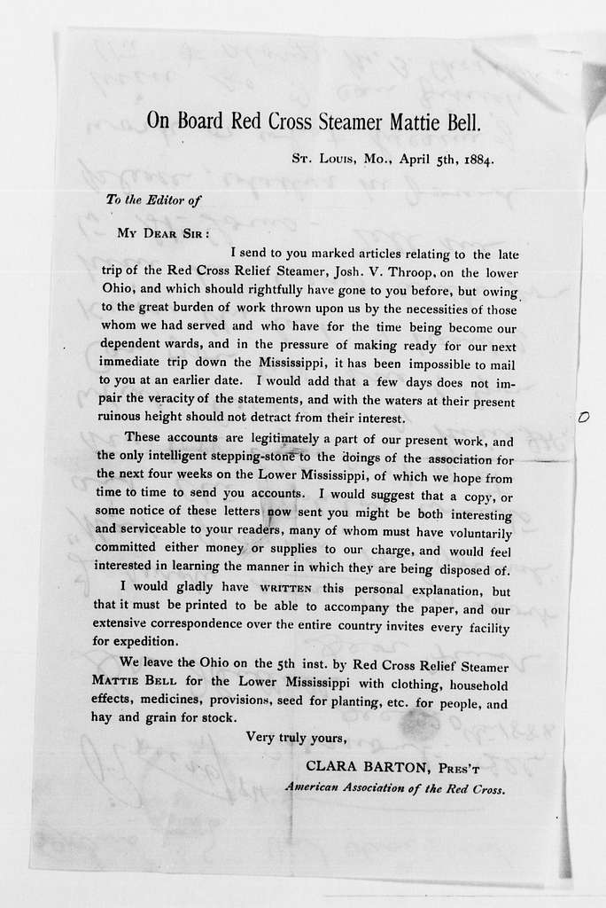 Clara Barton Papers: Red Cross File, 1863-1957; American National Red Cross, 1878-1957; Relief operations; Mississippi and Ohio river valleys; Correspondence; 1884, May-1885, Jan., undated