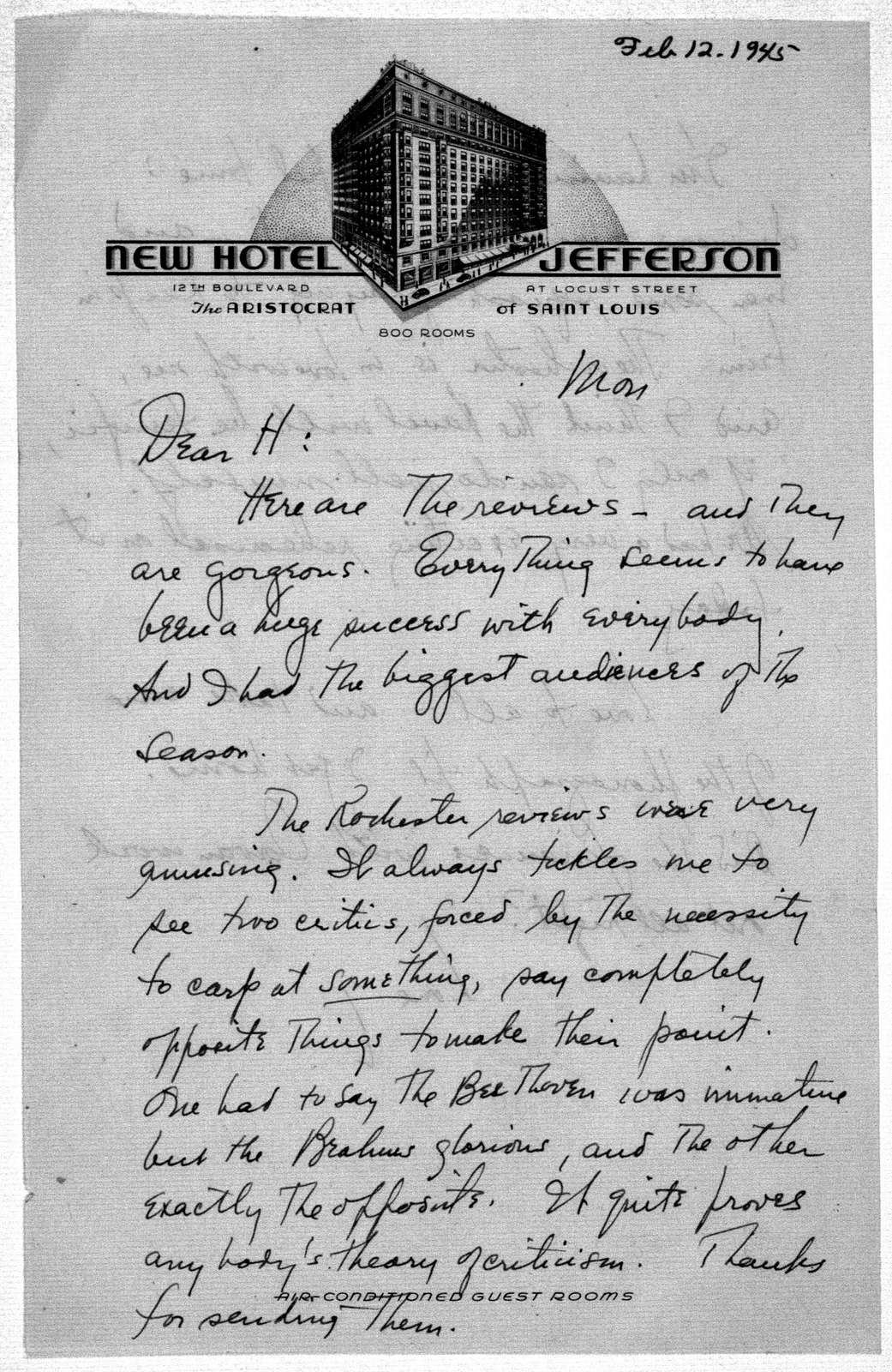 Letter from Leonard Bernstein to Helen Coates, n.d